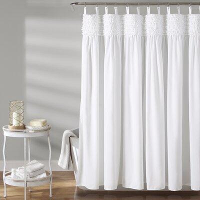 Aloysia Ruffle Single Shower Curtain Color: White
