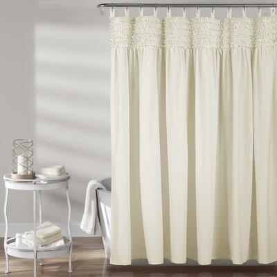 Aloysia Ruffle Single Shower Curtain Color: Ivory