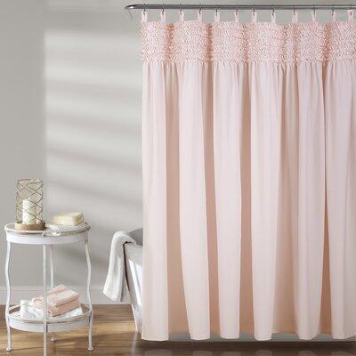 Aloysia Ruffle Single Shower Curtain Color: Pink