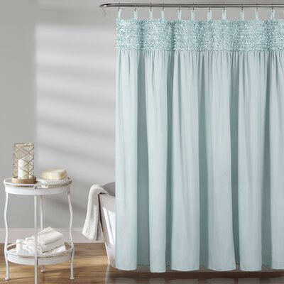 Aloysia Ruffle Single Shower Curtain Color: Blue