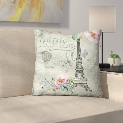 Vintage Typography Paris and Eiffel Tower Throw Pillow Size: 20 x 20, Color: Charcoal Gray