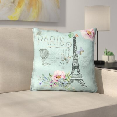 Vintage Typography Paris and Eiffel Tower Throw Pillow Size: 16 x 16, Color: Blue/Gray