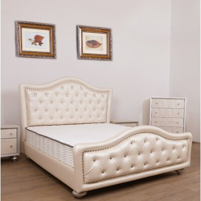 Amdt Queen Upholstered Platform Bed Color: Pearl White