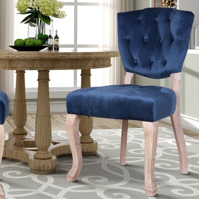 Wachtel Upholstered Dining Chair Upholstery: Blue