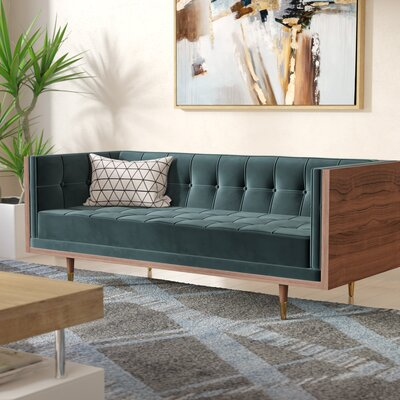 Arista Chesterfield Loveseat Upholstery: Neptune, Frame Finish: Walnut