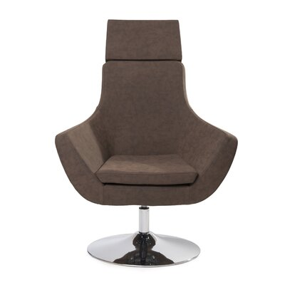 Crafa Swivel Lounge Chair Upholstery: Navy Leather