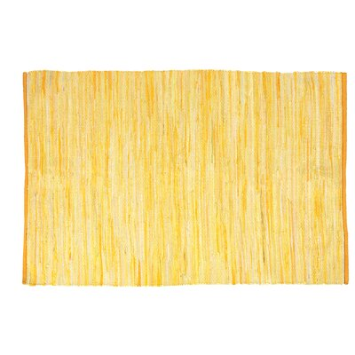 One-of-a-Kind Shea Hand-Woven Cotton Yellow Area Rug