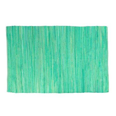 One-of-a-Kind Shear Hand-Woven Cotton Aqua Area Rug