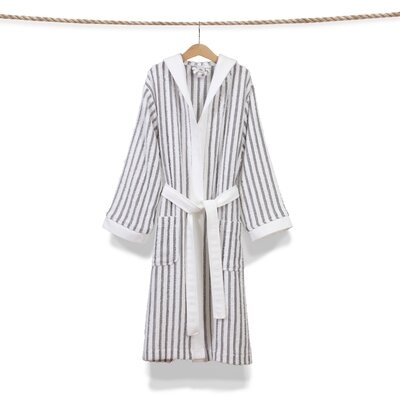 Brett Terry Stripe Hooded Unisex Bathrobe Size: Large