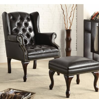 Edmondo Significantly Grand Wingback Chair and Ottoman