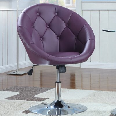 Ivey Round Tufted Papasan Chair Upholstery: Purple