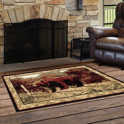 Vasques Majestic Bear Black/Dark Beige Indoor/Outdoor Area Rug Rug Size: Rectangle  27 x 41