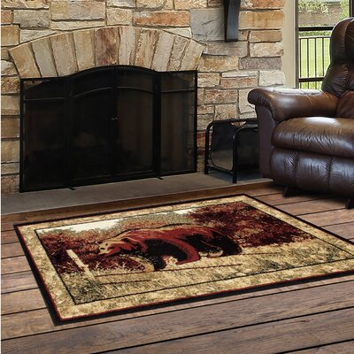 Vasques Majestic Bear Black/Dark Beige Indoor/Outdoor Area Rug Rug Size: Rectangle 22 x 33