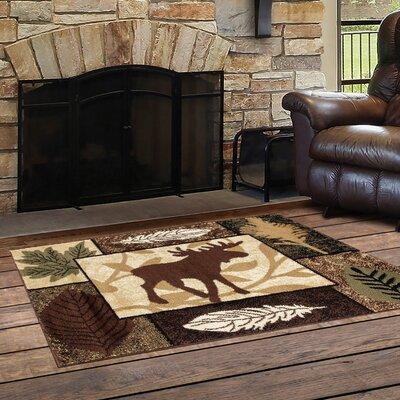 Vasquez Color Blocks Black/Brown Indoor/Outdoor Area Rug Rug Size: Rectangle  22 x 33