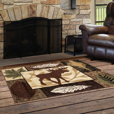 Vasquez Color Blocks Black/Brown Indoor/Outdoor Area Rug Rug Size: Rectangle  27 x 41