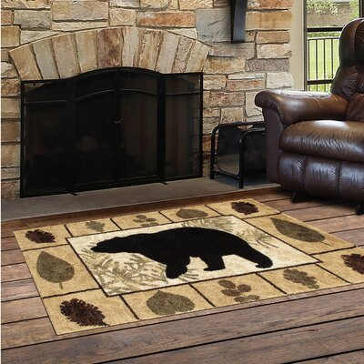 Vassallo Leaves Bear Beige/Dark Beige Indoor/Outdoor Area Rug Rug Size: Rectangle  22 x 33