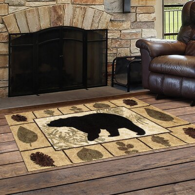 Vassallo Leaves Bear Beige/Dark Beige Indoor/Outdoor Area Rug Rug Size: Rectangle  27 x 41