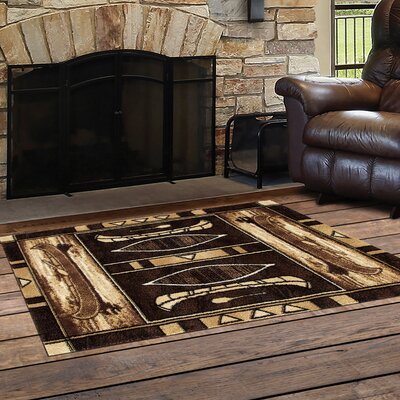 Vasser Native Canoe Black/Dark Beige Indoor/Outdoor Area Rug Rug Size: Rectangle  27 x 41