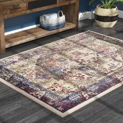 Manteca Traditional Dark Blue/Dark Brown Area Rug Rug Size: Rectangle 93 x 123