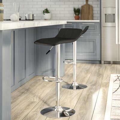 Noriega Adjustable Height Swivel Bar Stool Upholstery: Black