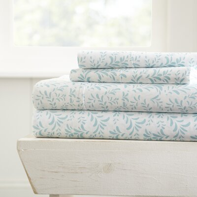 Plainsboro Premium Printed Microfiber Sheet Set Size: Twin, Color: Light Blue