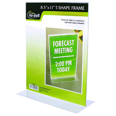 Table Top Double Sided T-Base Freestanding Sign Display Frame Size: 11 H x 8.5 W x 3 D