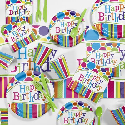 Bright and Bold Birthday Party Paper/Plastic Supplies Kit DTC5412C2A