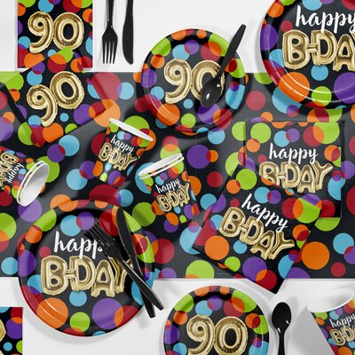 Balloon 90th Birthday Party Paper/Plastic Supplies Kit DTC3575E2N