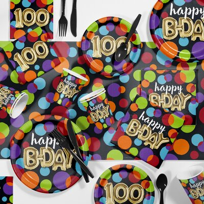 Balloon 100th Birthday Party Paper/Plastic Supplies Kit DTC3575E2P
