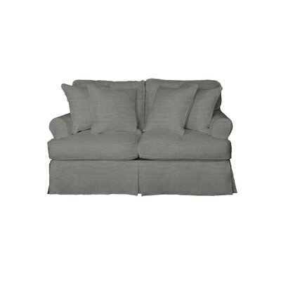 Telluride T-Cushion Loveseat Slipcover Upholstery: Gray
