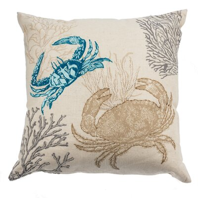 Cowley Embroidered Crab Cotton Throw Pillow