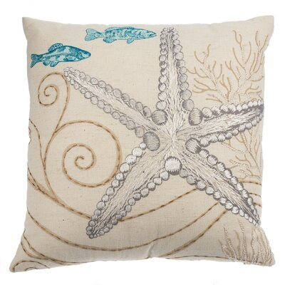 Cowley Embroidered Starfish Cotton Throw Pillow