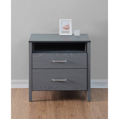 Lupe 2 Drawer Nightstand Color: Gray