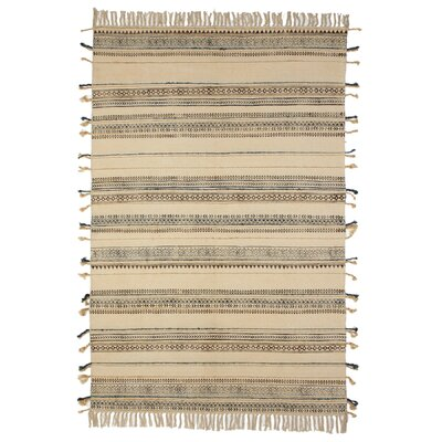 Moberly Print Thread Stripe Cotton Brown Area Rug