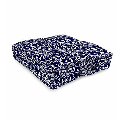 Tufted Outdoor Floor Pillow Color: Midnight Filigree