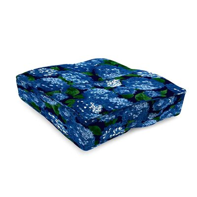 Tufted Outdoor Floor Pillow Fabric: Midnight Hydrangea