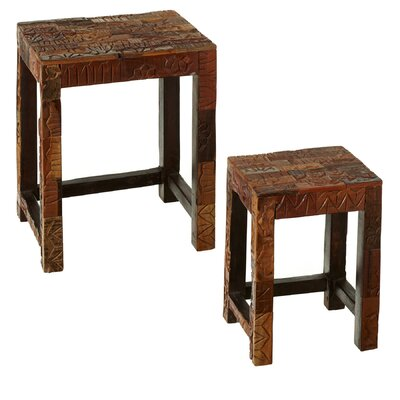 Monks Block Print 2 Piece Nesting Tables