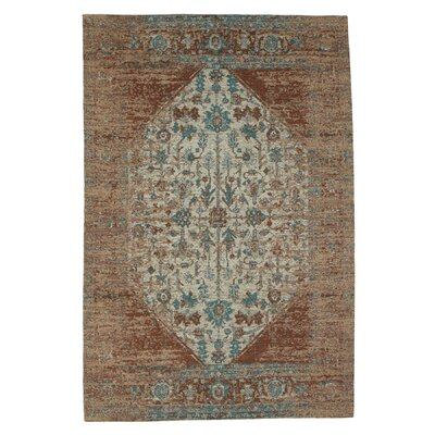 Moberg Jacquard Cotton Tan/Turquoise Area Rug Rug Size: Rectangle 4 x 6