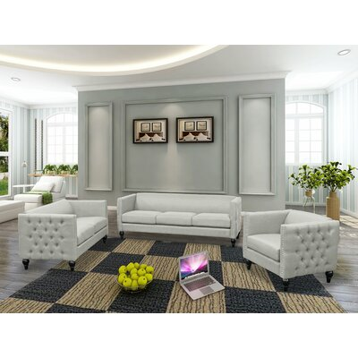 Iseminger 3 Piece Living Room Set Upholstery: Beige