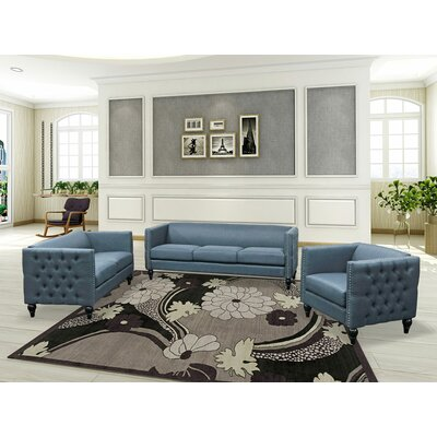 Iseminger 3 Piece Living Room Set Upholstery: Blue