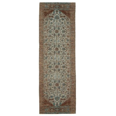 Moberg Jacquard Cotton Tan/Turquoise Area Rug Rug Size: Runner 2 x 6