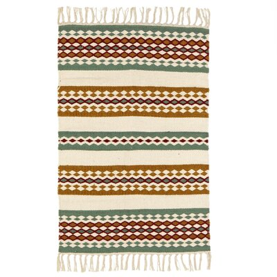 Mobley Hand-Woven Wool Green/Rust Area Rug