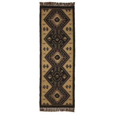 Pelzer Handmade Kilim Black/Tan Area Rug Rug Size: Runner 2 x 6
