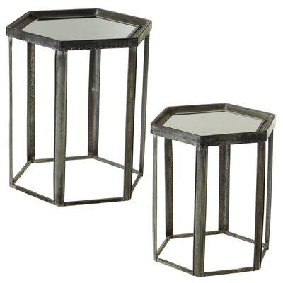 Albinson Galvanized Hexagon 2 Piece Nesting Tables