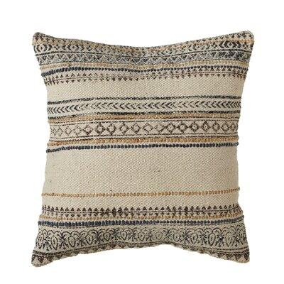 Pence Block Print Pattern Thread Stripe Cotton Throw Pillow