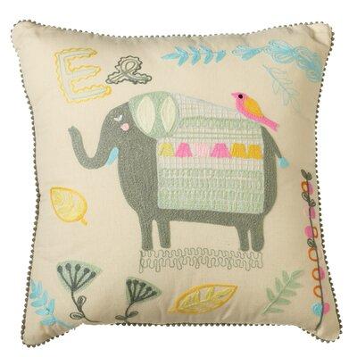Piatt Embroidered Elephant Cotton Throw Pillow