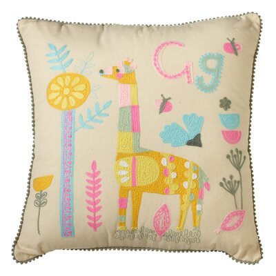 Piatt Embroidered Giraffe Cotton Throw Pillow