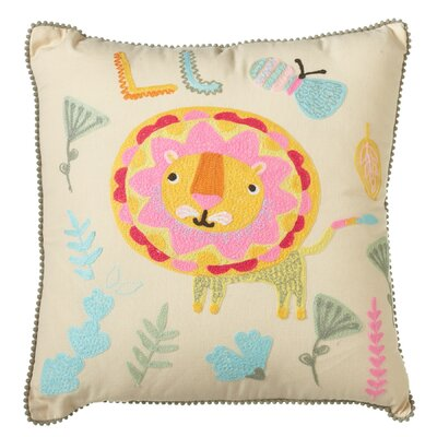 Piatt Embroidered Lion Cotton Throw Pillow