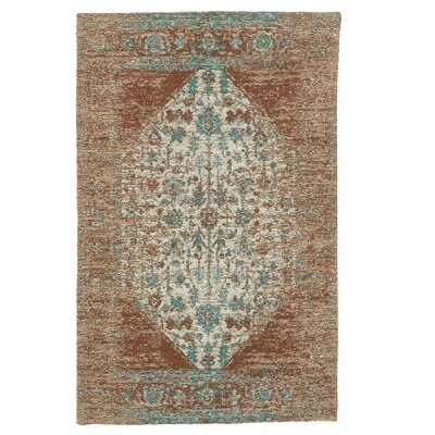 Moberg Jacquard Cotton Tan/Turquoise Area Rug Rug Size: Rectangle 2 x 3