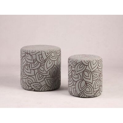 Burrill Pouf (Set of 2) Upholstery: Gray